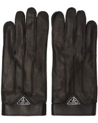 Prada - Black Leather Logo Gloves - Lyst