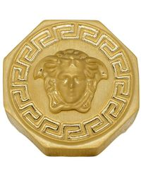 Versace - Gold Octagon Greek Medusa Ring - Lyst
