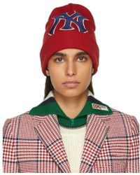 Gucci - Red Ny Yankees Edition Patch Beanie - Lyst