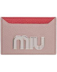 Miu Miu - Pink Colorblock Big Logo Card Holder - Lyst