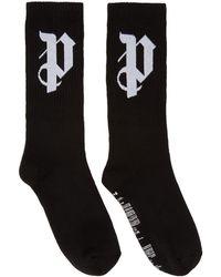 Palm Angels - Ssense Exclusive Black Pa Monogram Socks - Lyst