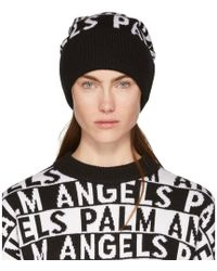 Palm Angels - Black And White Logo Beanie - Lyst