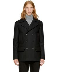Versace - Black Wool Double-breasted Peacoat - Lyst