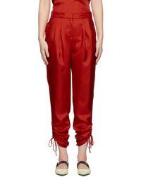 Tibi - Red Twill Mendini Shirred Trousers - Lyst