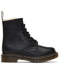 Dr. Martens - Black Fur-lined Serena Boots - Lyst