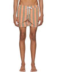 Onia - Orange And Green Striped Charles Swim Shorts - Lyst