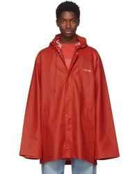 Vetements - Red Short Logo Rain Coat - Lyst