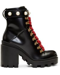 Gucci - Trip Leather Ankle Boots - Lyst