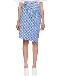 Ports 1961 - Blue And Brown Gingham Multi-styling Skirt - Lyst