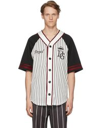 Dolce & Gabbana - Black And White Striped Baseball Shirt - Lyst