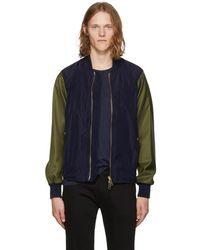 Burberry - Navy & Green Eddison Jacket - Lyst
