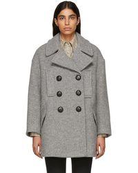 Isabel Marant - Grey Wool Enola Coat - Lyst