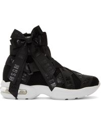 MSGM - Black Mesh Logo Ribbons High-top Trainers - Lyst