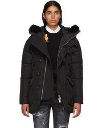 DSquared² - Black Hooded Fur Parka - Lyst