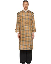 Burberry - Tan Check Trench Coat - Lyst