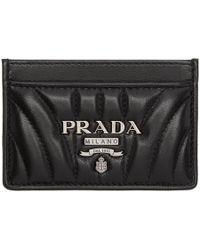 Prada - Black Quilted Logo Card Holder - Lyst