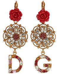 Dolce & Gabbana - ゴールド フラワー クリスタル ピアス - Lyst