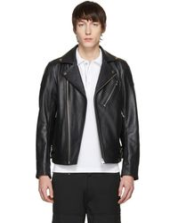 DIESEL - Black Leather L-kramps Biker Jacket - Lyst
