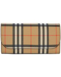 Burberry - Vintage Check And Leather Continental Wallet - Lyst