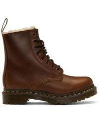 Dr. Martens - Brown Faux-fur 1460 Serena Boots - Lyst