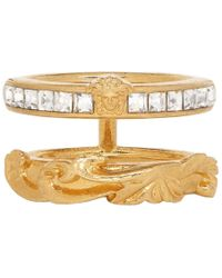 Versace - Gold Medusa Double Band Ring - Lyst