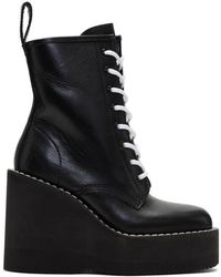 Sacai - Black Lace-up Wedge Boots - Lyst