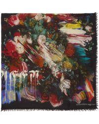 Alexander McQueen - Black Drip Flower Scarf - Lyst