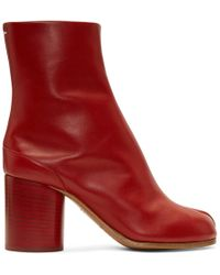 Maison Margiela - Red Leather Tabi Boots - Lyst