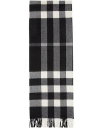 Burberry - Black & White Cashmere Check Scarf - Lyst