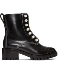 3.1 Phillip Lim - Black Leather Lug Pearl Boots - Lyst
