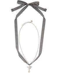 Miu Miu - Silver Swallow Pearl Charm Necklace - Lyst
