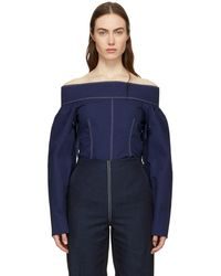 Cedric Charlier - Navy Off-the-shoulder Blouse - Lyst