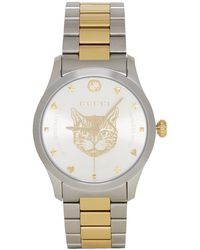 Gucci - Gold And Silver Cat Iconic G-timeless Watch - Lyst