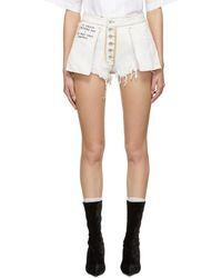 Unravel - White Reverse Denim Shorts - Lyst