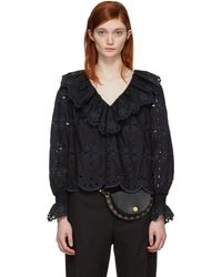 See By Chloé - Black Broderie Anglaise Ruffle Blouse - Lyst