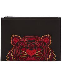 KENZO - Black Neoprene Chinese New Year Tiger Pouch - Lyst