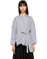Enfold - Blue And White Two-way Tie Blouse - Lyst