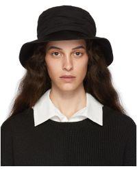 Y's Yohji Yamamoto - Black Crepe De Chine Gathered Hat - Lyst