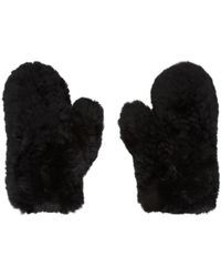 Yves Salomon | Black Fur & Leather Mittens | Lyst