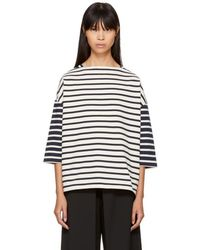 YMC - Ecru & Navy Striped Sweatshirt - Lyst