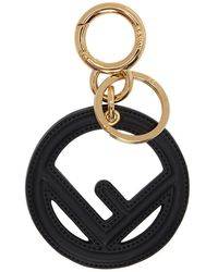 Fendi - Black Leather F Is Keychain - Lyst