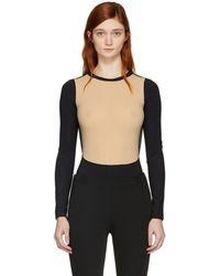 Maison Margiela - Black And Beige Technic Lycra Bodysuit - Lyst