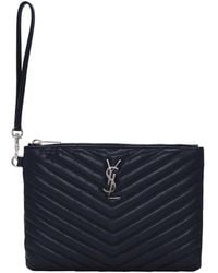 Saint Laurent - Navy Quilted Monogram Pouch - Lyst