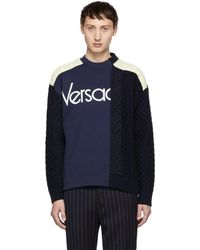 Versace - Navy And White Hybrid Sweater - Lyst