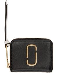 Marc Jacobs - Black And Pink Mini Zip Card Case - Lyst