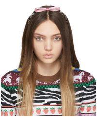 dc03833b54bb Miu Miu - Pink Bow Crystal Headband - Lyst