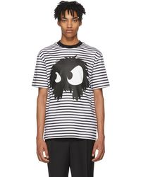 McQ - Black And White Striped Mad Chester T-shirt - Lyst