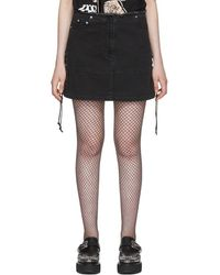 McQ - Black Laced Denim Miniskirt - Lyst