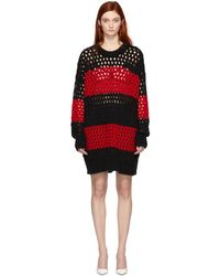 DSquared² - Black And Red Striped Knit Pullover Dress - Lyst