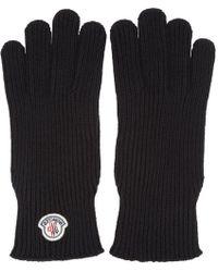 Moncler - Black Wool Gloves - Lyst